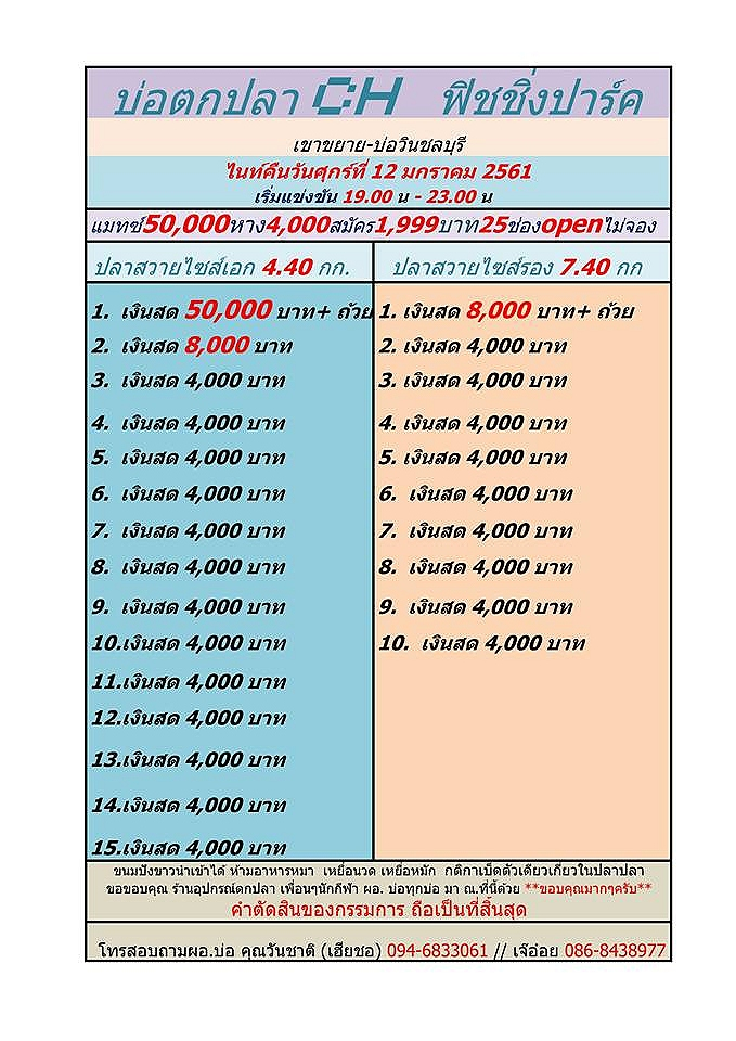 วันศุกร์ที่ 12 มกราคม 2561 (เริ่ม 19.00-23.00 น) หัว 50,000 บาท หาง4,000/25 ช่อง