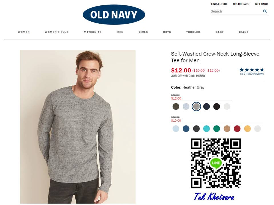160 บาท แขนยาว Old Navy Soft-Washed Crew-Neck Long-Sleeve(Tall)