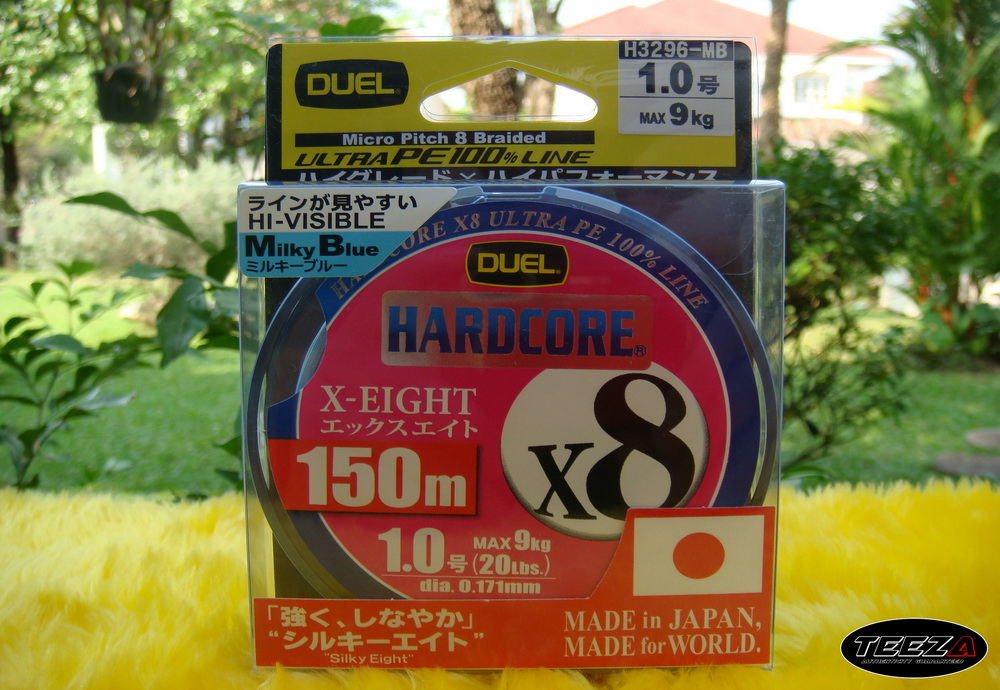 [b][center]8.  DUEL HARDCORE X8 Milky Blue 1.0  ม้วนละ  800  บาท[/b][/center]